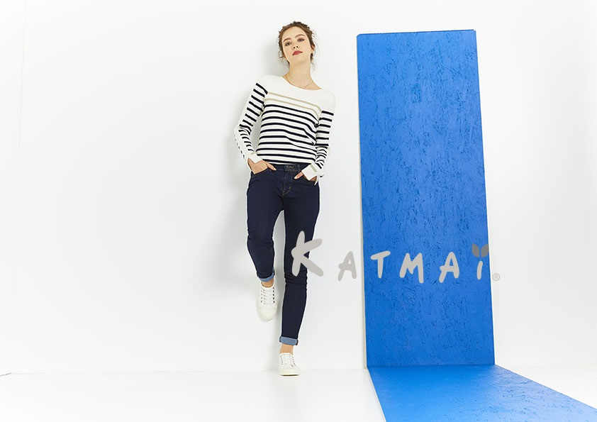 vetement boutique casual marin marques pull marinière en viscose et polyamide katmai - Rivages